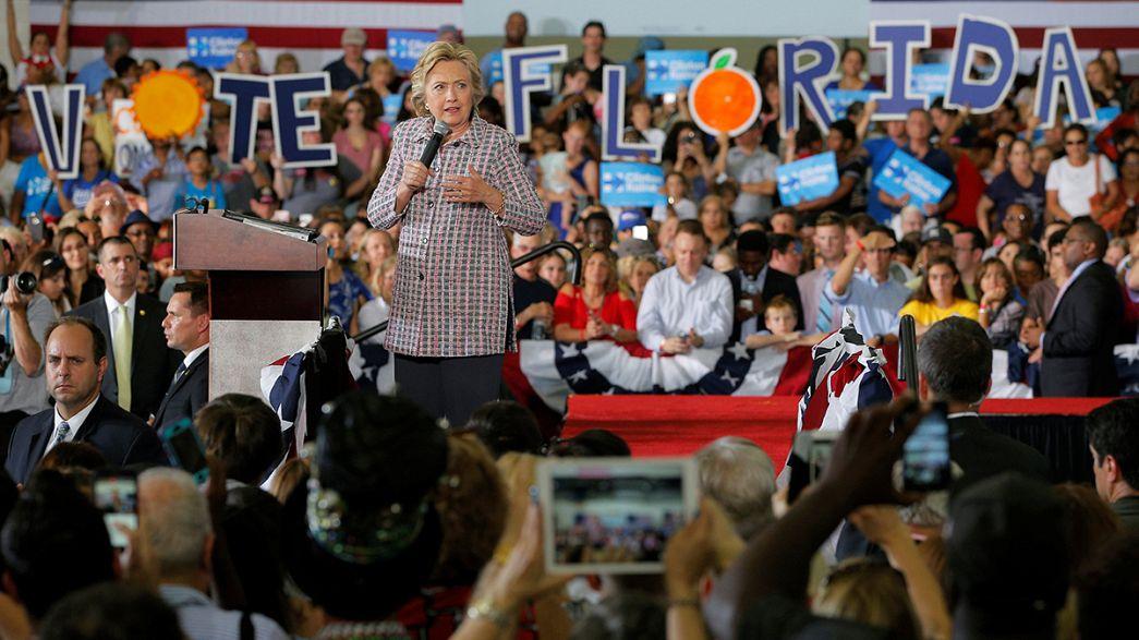 """Presidenciais nos EUA: A vantagem de Clinton nos """"swing states""""."""