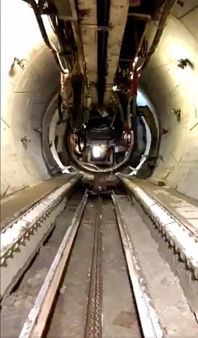 The rapid-transit tunnel constructed by Elon Musk\'s Boring Company that runs under Los Angeles, is seen in this still image taken from a video obtained from social media on November 3, 2018.