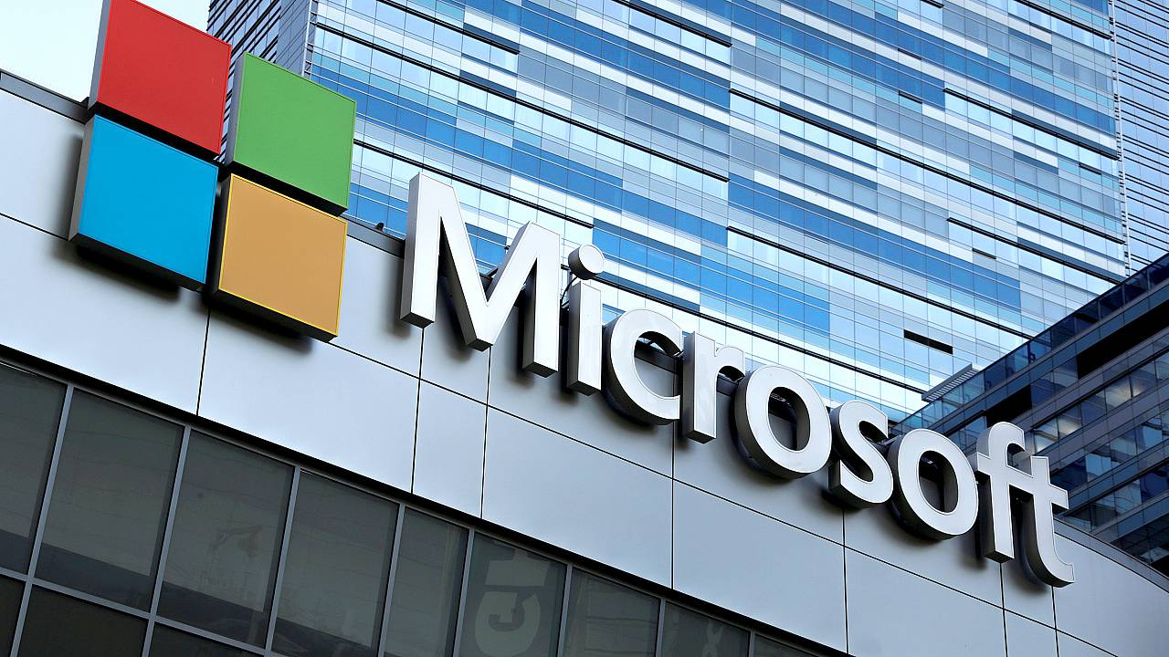 Image: FILE PHOTO: The Microsoft sign is shown on top of the Microsoft Thea