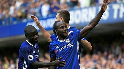 Nigeria's Victor Moses on target - Chelsea 3 Leicester City 0
