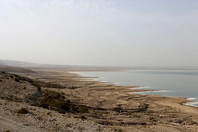 The southern end of the Dead Sea in Jordan.