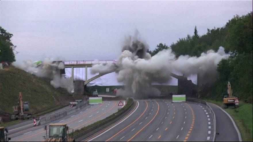 German bridge blown up for highway construction