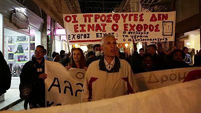 Protestas en Lesbos contra la política europea de cierre de fronteras