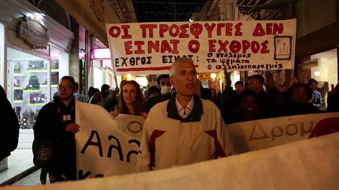 Lesbos : manifestation contre la fermeture des frontières de l'UE