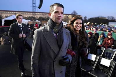 Donald Trump Jr. and Kimberly Guilfoyle arrive ahead of President Donald Trump and first lady Melania Trump for the lighting of the National Christmas Tree lighting ceremony at the Ellipse near the White House on Nov. 28, 2018.
