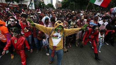 Zombies march for equality through Mexico City