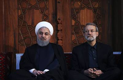 Iranian President Hassan Rouhani and Parliament speaker Ali Larijani Iran\'s Supreme Leader Ayatollah Ali Khamenei on June 4, 2018.