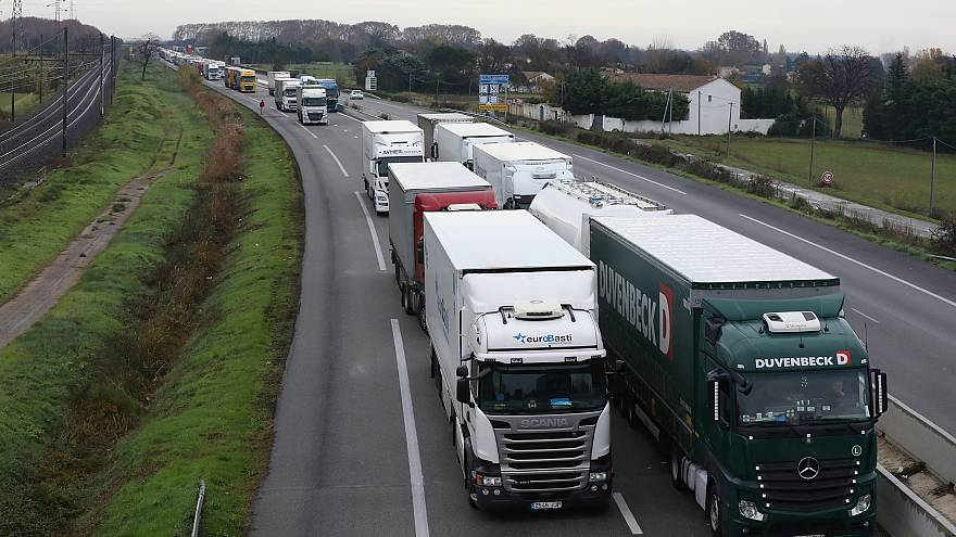 Hundreds of trucks block a highway near Arles, France