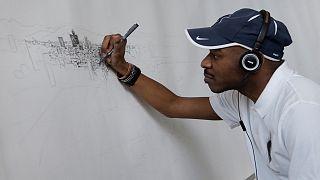 Stephen Wiltshire desenha a Cidade do México