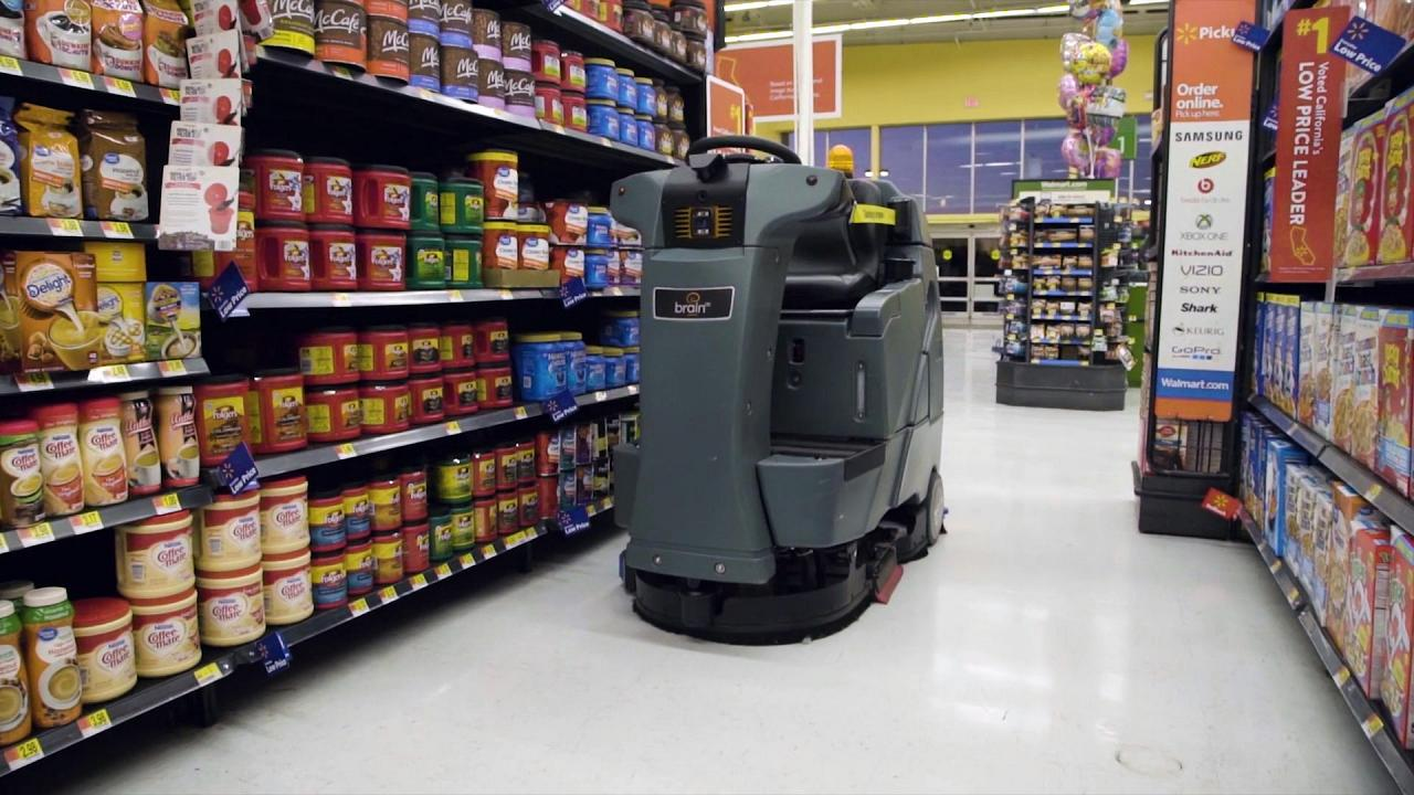 Walmart's BrainOS-powered floor scrubbers are equipped with sensors to clea