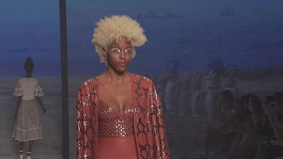 Travel inspired garments on the runway in Sao Paulo