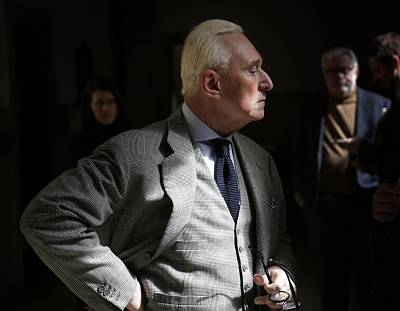 Roger Stone outside a New York courtroom on March 30, 2017.