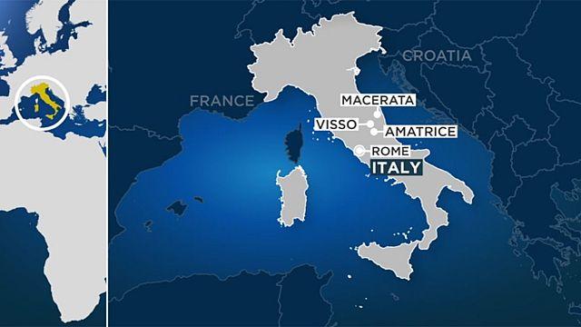 Сильное землетрясение в центре Италии