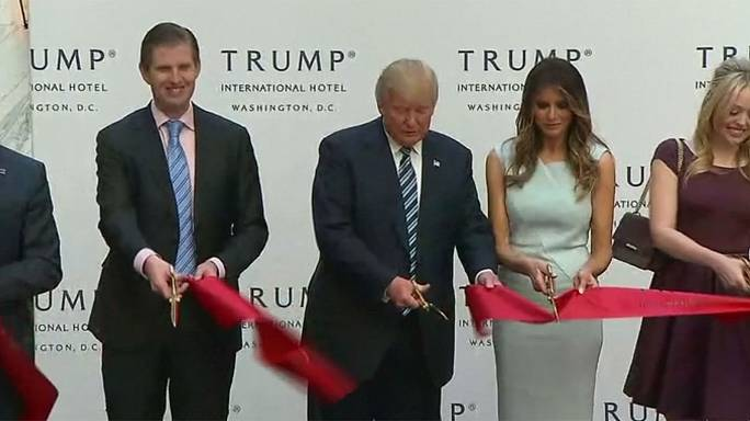 US election: Trump promises 'revitalisation' as he opens new hotel