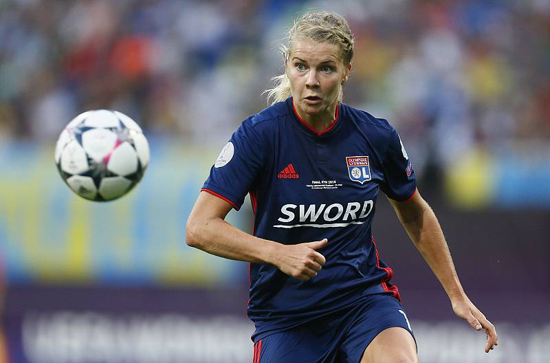 Ada Hegerberg plays for Lyon against Wolfsburg in the UEFA Women\'s Champions League Final in Kiev, Ukraine, on May 24.