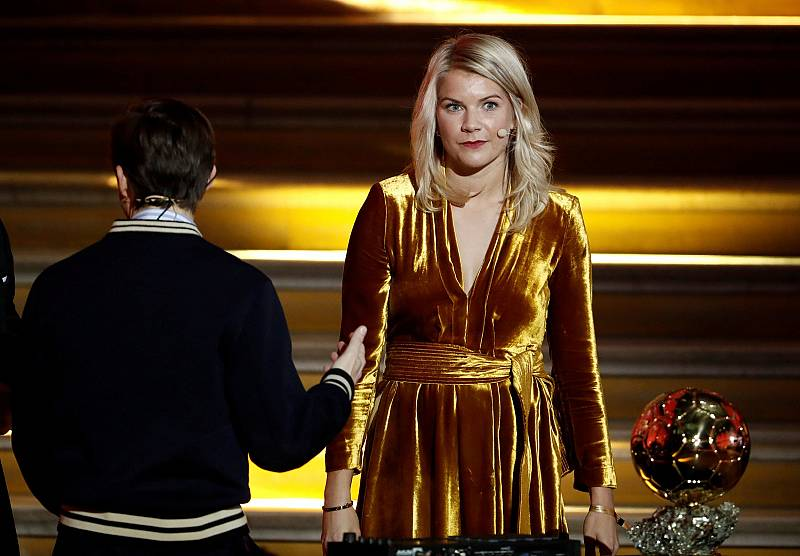 Ada Hegerberg reacts after being asked to twerk by DJ Martin Solveig during the Ballon d\'Or ceremony in Paris.