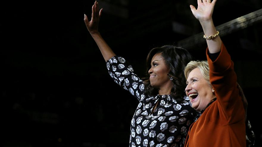 US election: Clinton 'pulls out all the stops' to campaign with First Lady