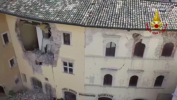 Drone footage shows extent of damage in quake-stricken villages in Italy