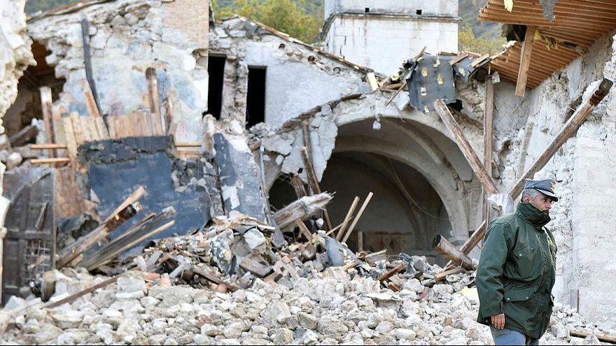 Vue aérienne de la zone aérienne du tremblement de terre en Italie