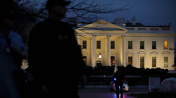 The Secret Service stand guard outside the White House on March 6, 2017.