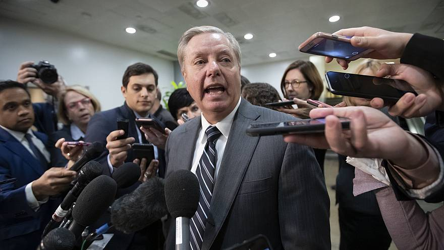 Sen. Lindsey Graham speaks to reporters after a security briefing on the ki