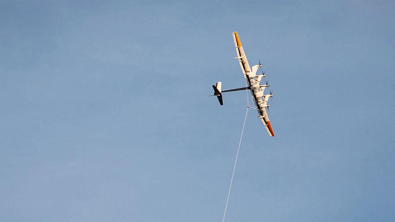 A Makani energy kite in flight.