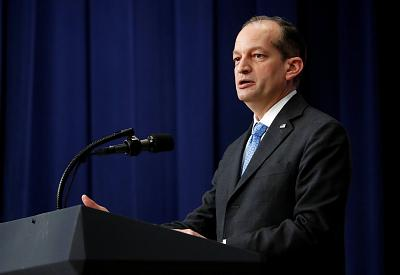 "Labor Secretary Alexander Acosta speaks before President Donald Trump at an event for ""supporting veterans and military families"" at the White House on November 15, 2018."