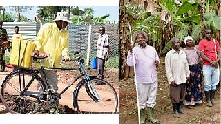 Museveni in green boots bikes to farmers' homes to teach wealth creation