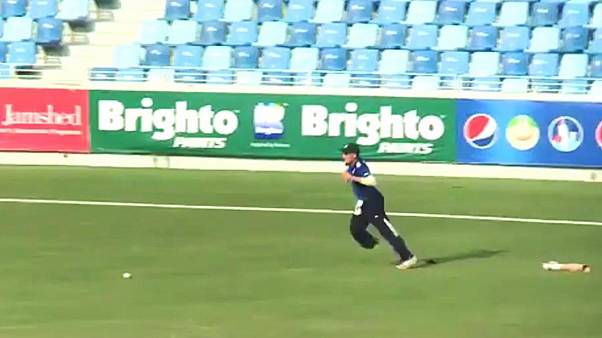 Watch: Cricketer plays on after losing his artificial leg