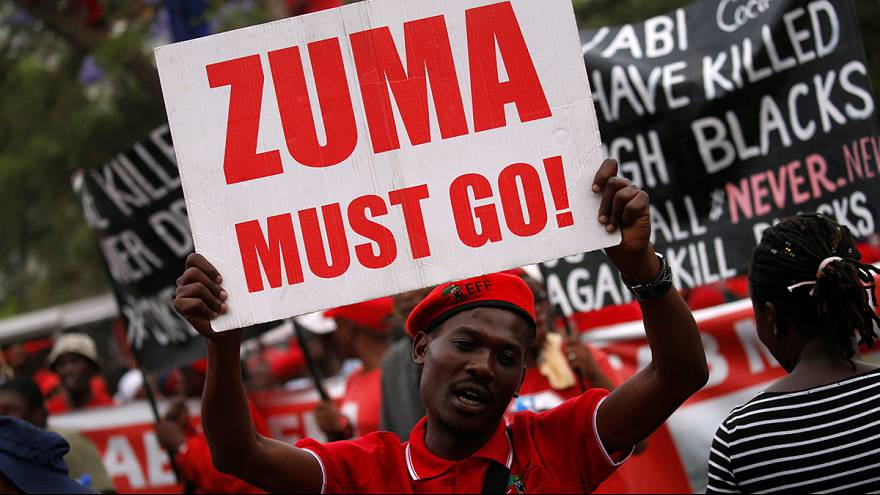 Manifestantes exigem demissão do presidente sul-africano Jacob Zuma