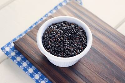 Black rice is fun to use in desserts and puddings.