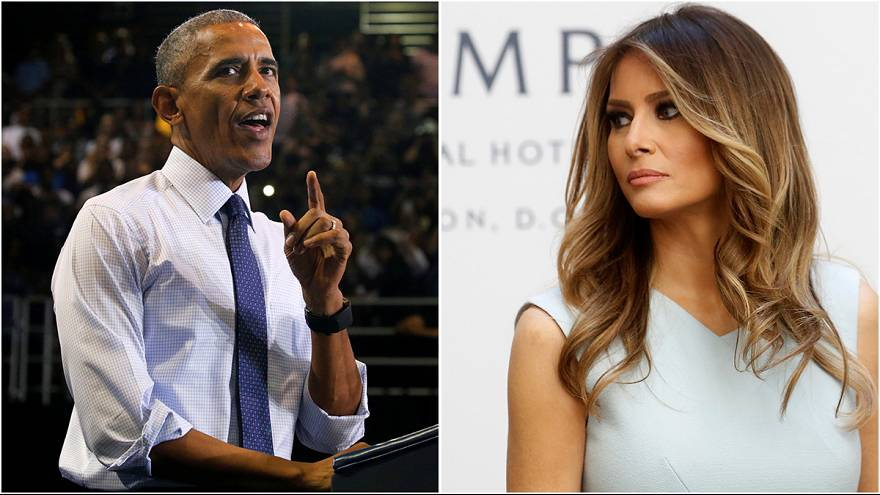 Barack Obama and Melania Trump speak out in support of their presidential candidates