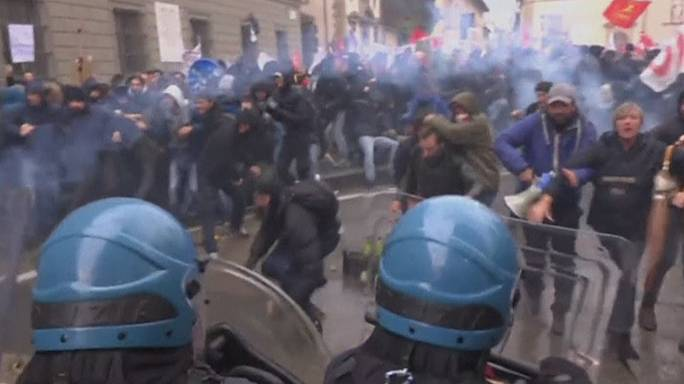 Violent scenes on the streets of Florence