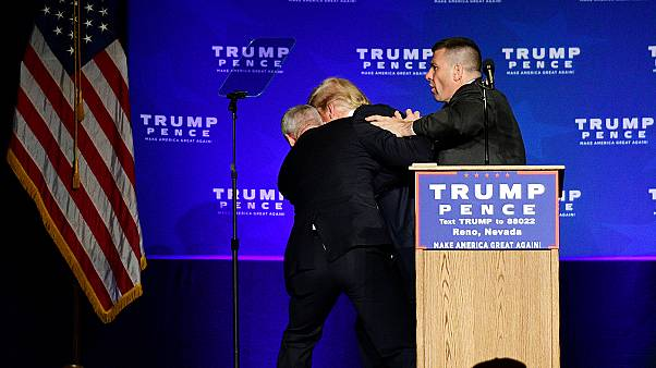 'Gun' shouted, but no weapon found: Donald Trump is rushed off stage in Reno