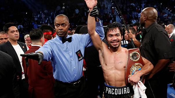 Senator Pacquiao makes winning return to ring in La Vegas