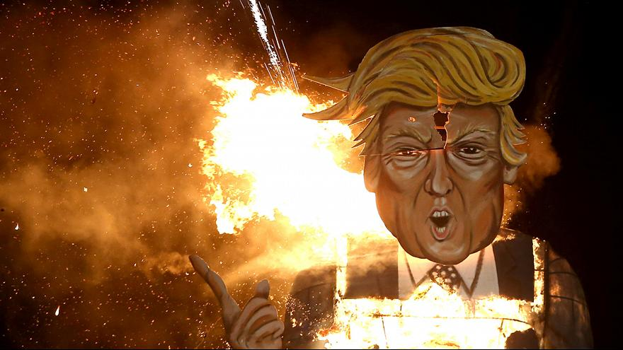 Trump effigy feels the heat during Guy Fawkes Night