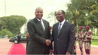 Visite de Touadéra en Côte d'Ivoire