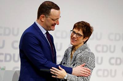 Jens Spahn and Annegret Kramp-Karrenbauer at the CDU congress in Hamburg, Germany, on Friday. Both hope to replace Angela Merkel as the party\'s leader.