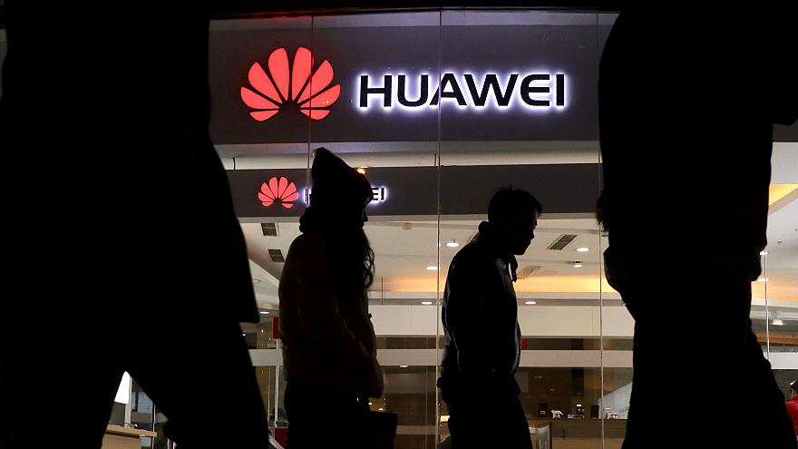 Image: A Huawei retail shop in Beijing