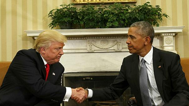 Donald Trump and Barack Obama hold talks at the White House