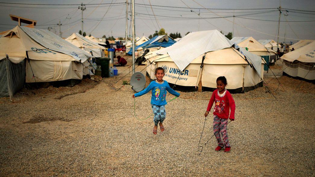 El día a día en un campamento a 20 kilómetros de Mosul