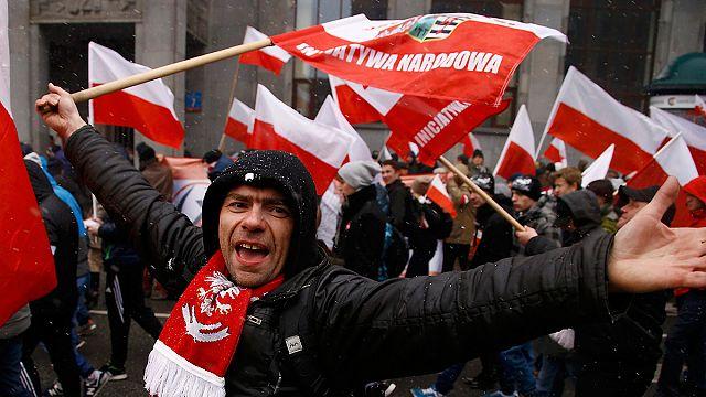Exhibición nacionalista durante el Día de la Independencia en Polonia