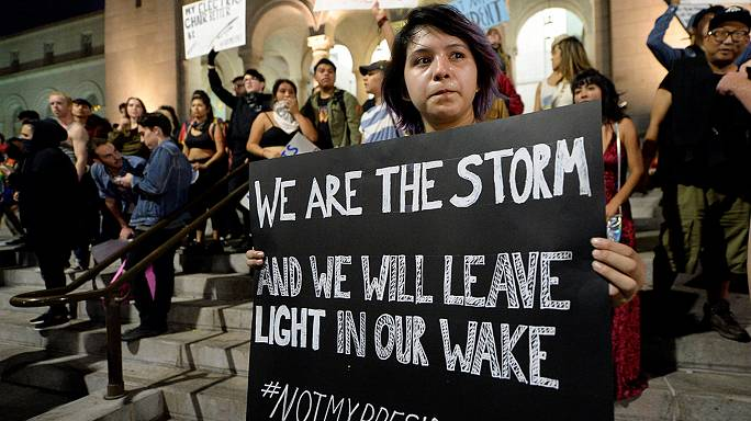 A third night of #NotMyPresident protests across America