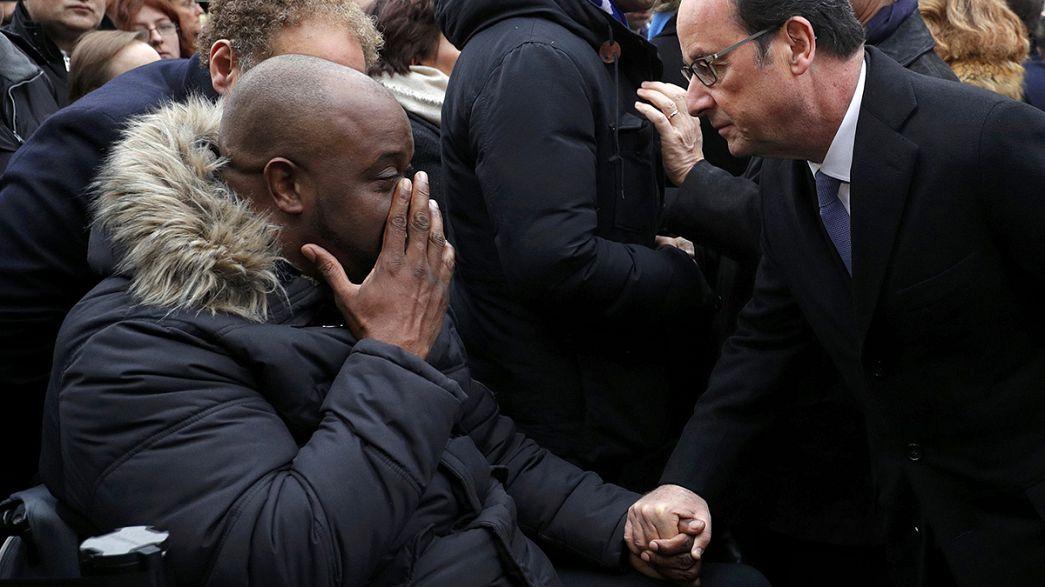 الرئيس الفرنسي يفتتح مراسم احياء ذكرى اعتداءات باريس