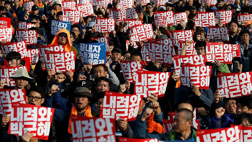 Protesters demand resignation of South Korea's president