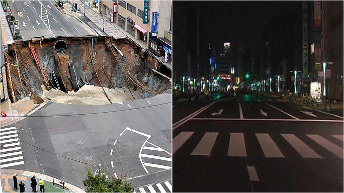 Los japoneses rellenan un socavón gigante en una semana