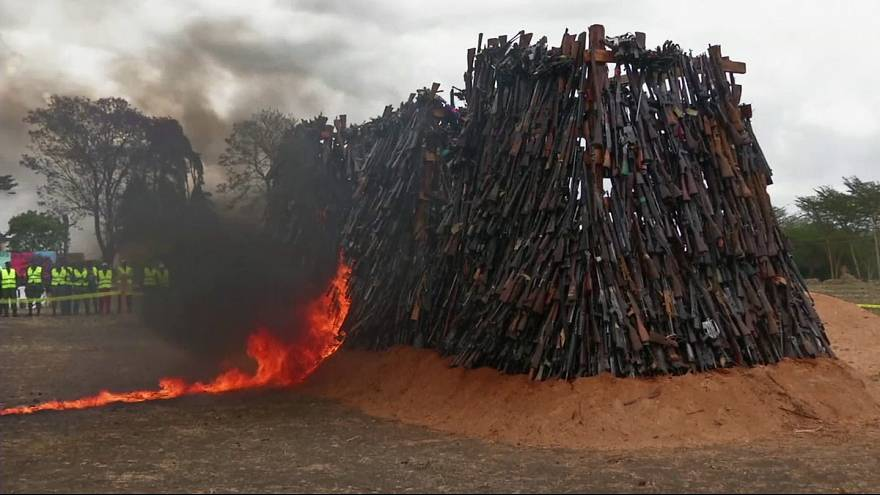 Kenya burns illegal firearms