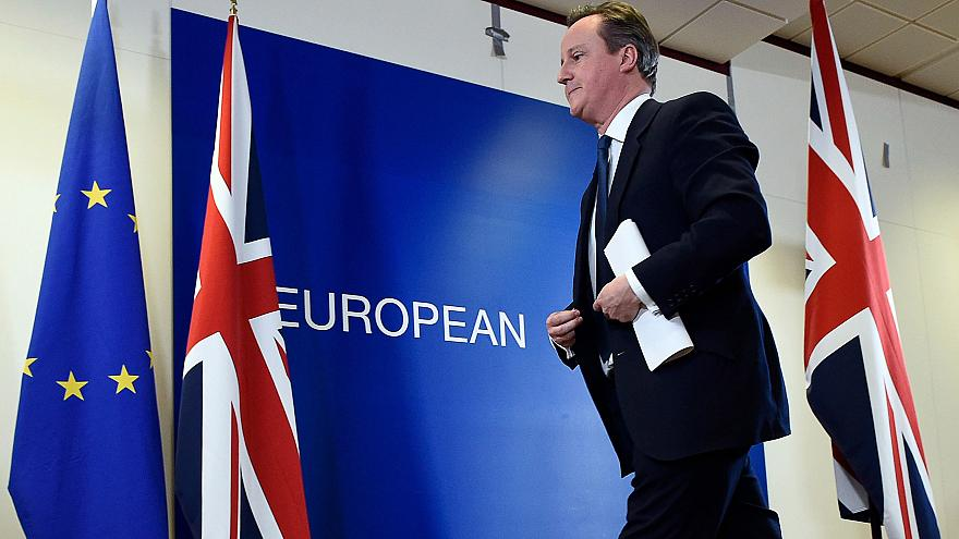 Image: British Prime Minister David Cameron leaves after delivering a press