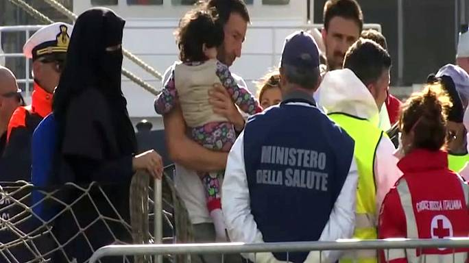 Rescued migrants arrive in Italy after deadly week in the Mediterranean