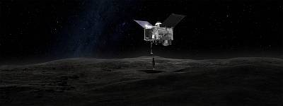 This artist\'s concept shows OSIRIS-REx\'s robotic arm reaching out to take a sample of the asteroid Bennu.